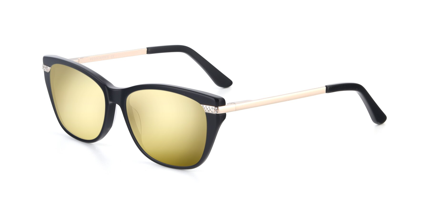 Angle of 17515 in Black with Gold Mirrored Lenses