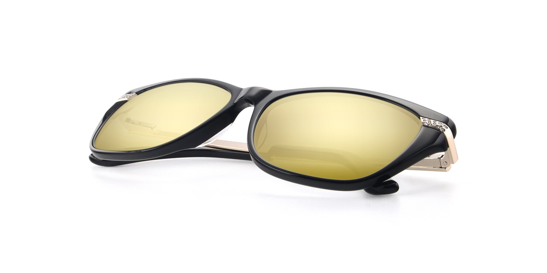 View of 17515 in Black with Gold Mirrored Lenses