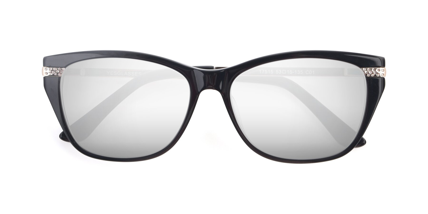 Folded Front of 17515 in Black with Silver Mirrored Lenses