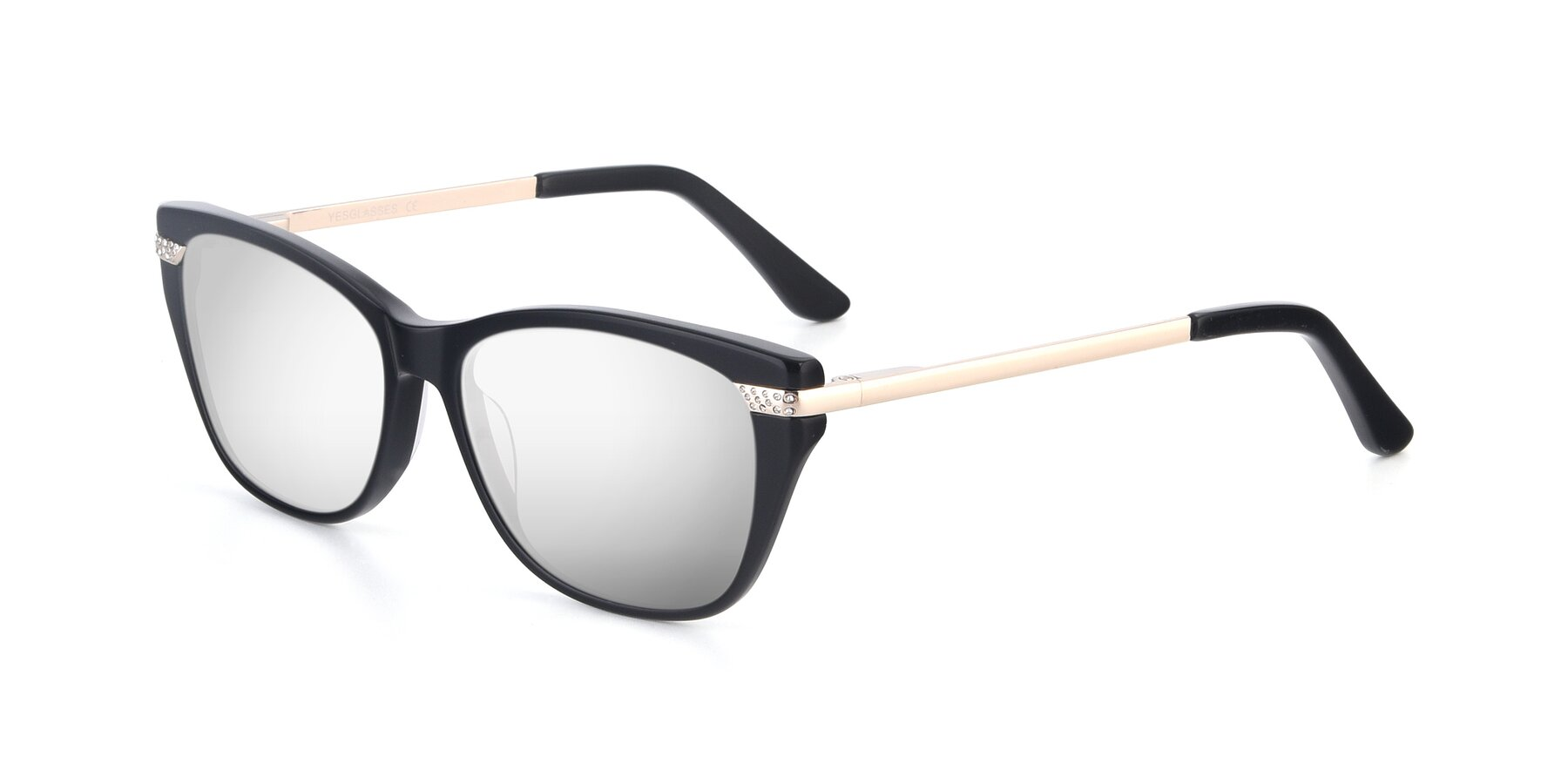 Angle of 17515 in Black with Silver Mirrored Lenses