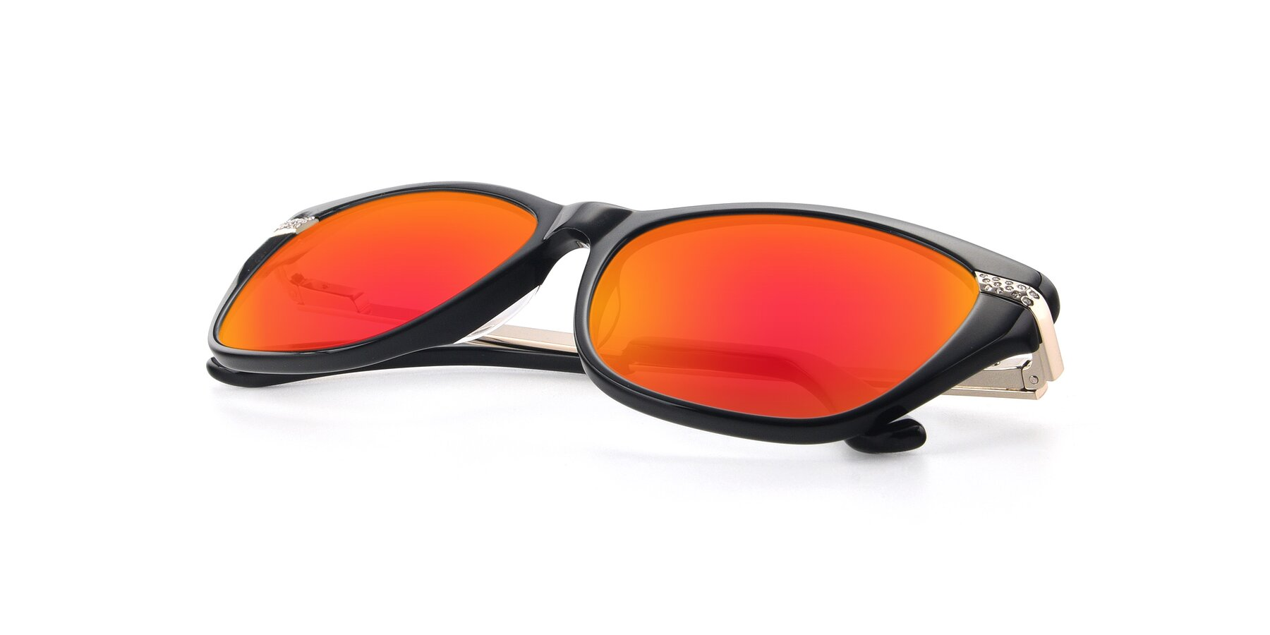 View of 17515 in Black with Red Gold Mirrored Lenses