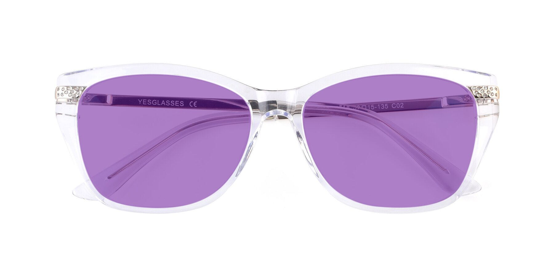 Folded Front of 17515 in Clear with Medium Purple Tinted Lenses