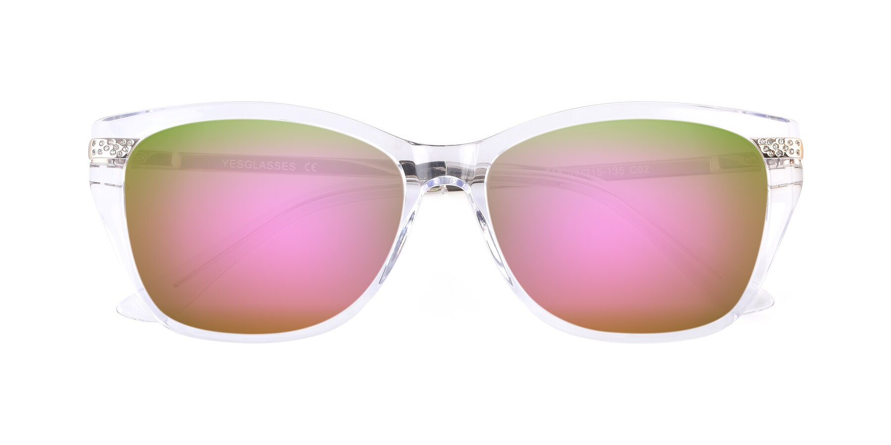 Folded Front of 17515 in Clear with Pink Mirrored Lenses