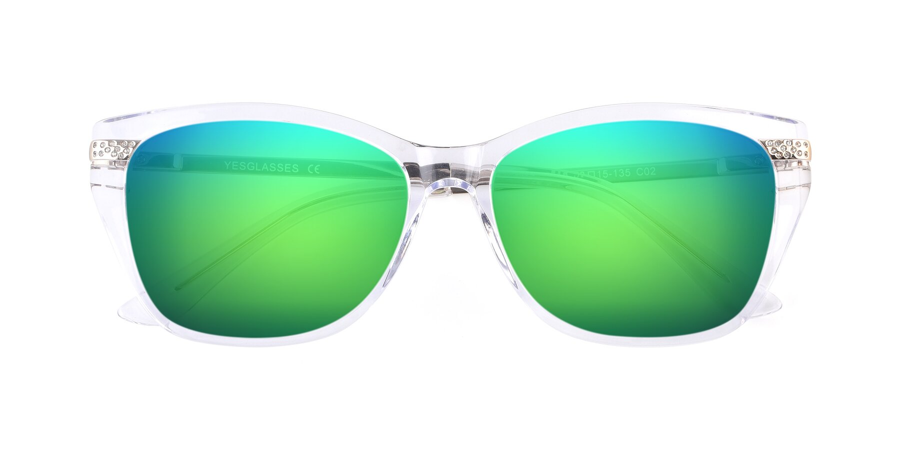 Folded Front of 17515 in Clear with Green Mirrored Lenses