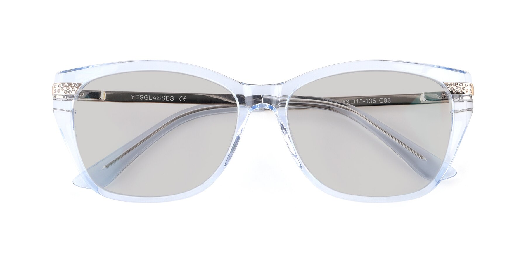 Folded Front of 17515 in Transparent Blue with Light Gray Tinted Lenses