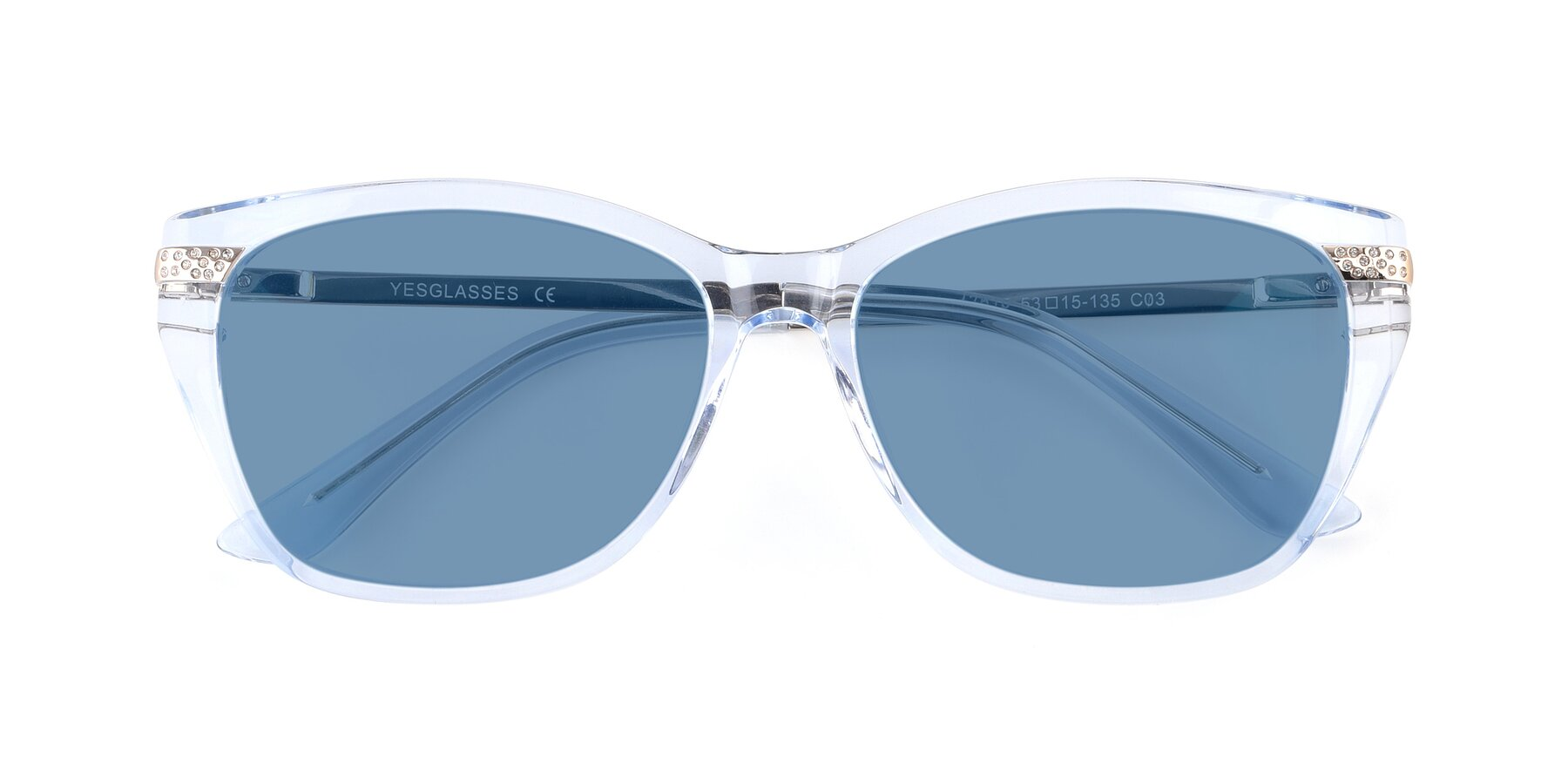 Folded Front of 17515 in Transparent Blue with Medium Blue Tinted Lenses