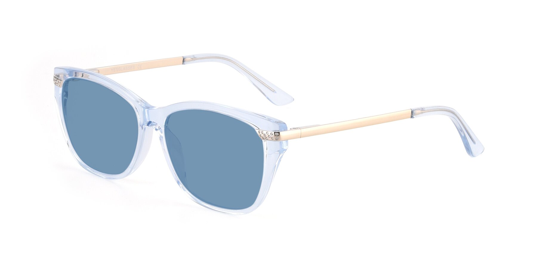 Angle of 17515 in Transparent Blue with Medium Blue Tinted Lenses