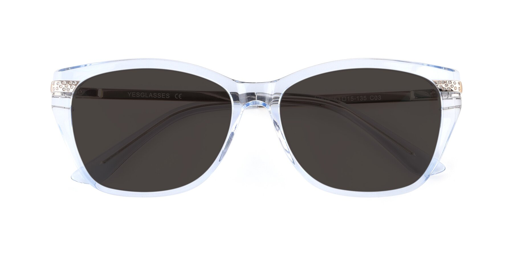 Folded Front of 17515 in Transparent Blue with Gray Tinted Lenses