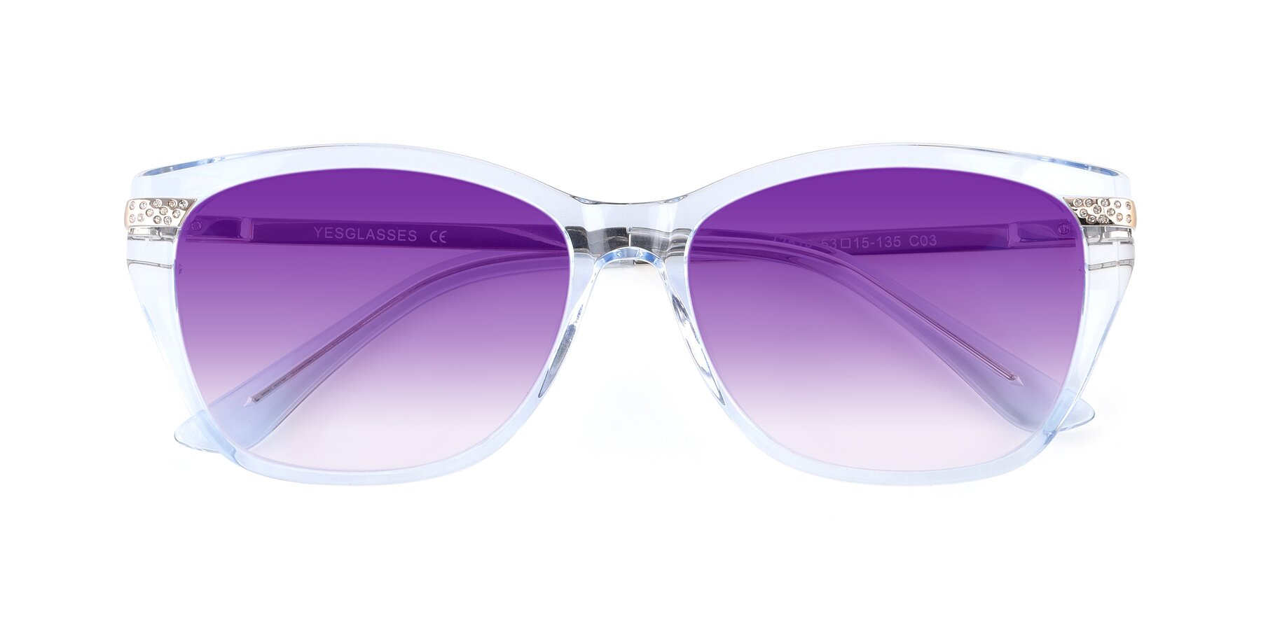 Folded Front of 17515 in Transparent Blue with Purple Gradient Lenses
