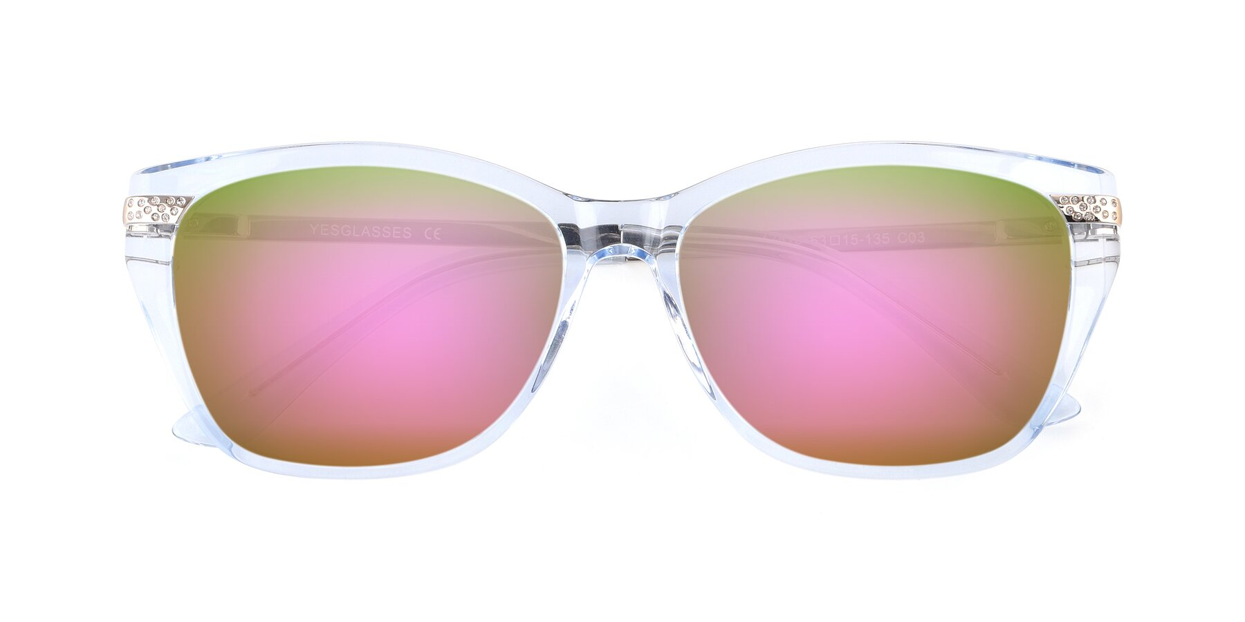 Folded Front of 17515 in Transparent Blue with Pink Mirrored Lenses