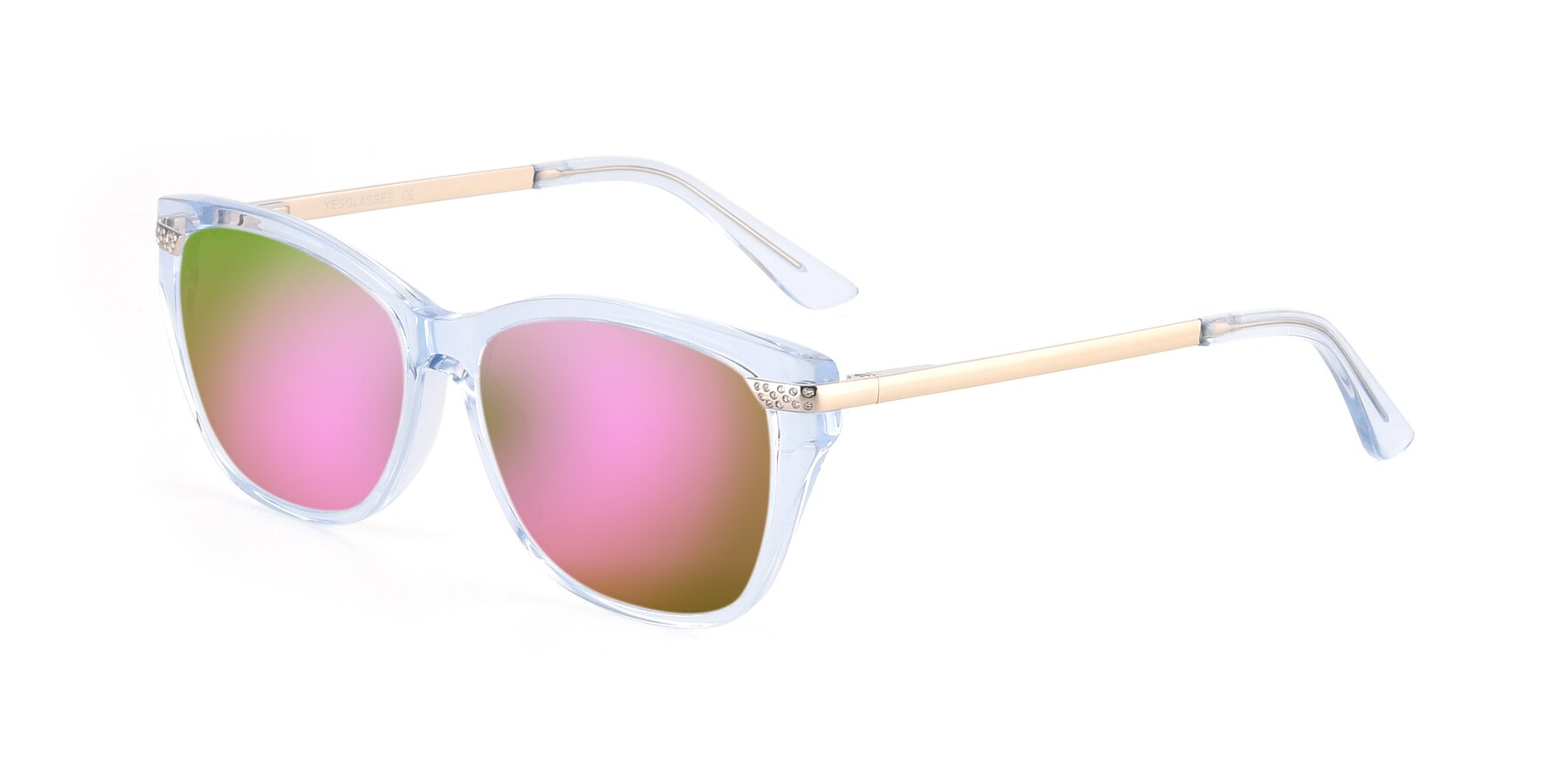 Angle of 17515 in Transparent Blue with Pink Mirrored Lenses