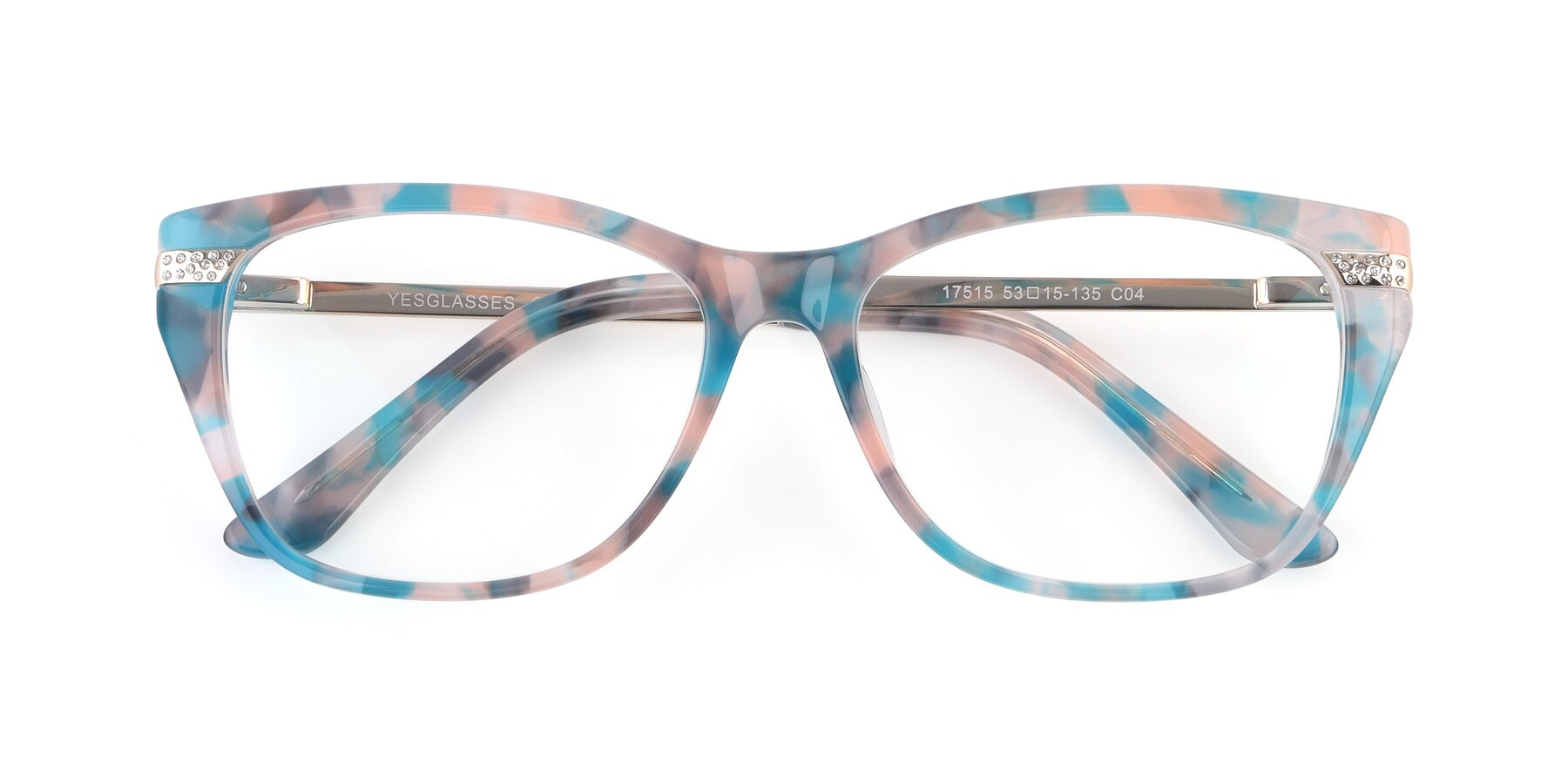 Folded Front of 17515 in Floral with Clear Blue Light Blocking Lenses