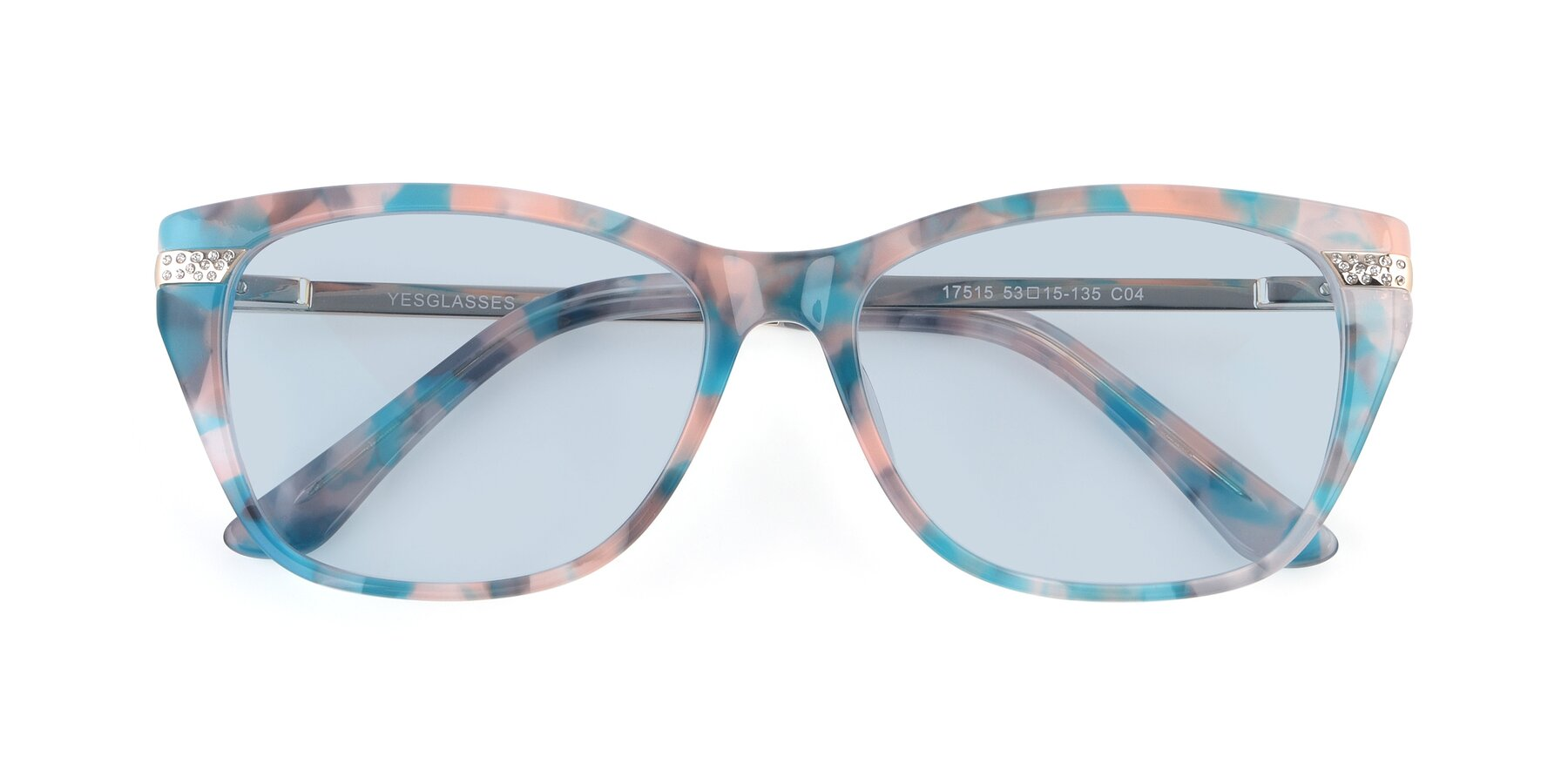 Folded Front of 17515 in Floral with Light Blue Tinted Lenses