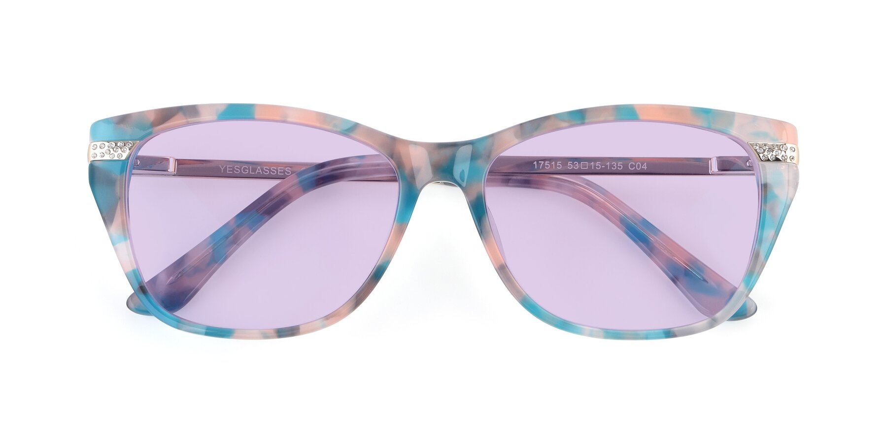 Folded Front of 17515 in Floral with Light Purple Tinted Lenses
