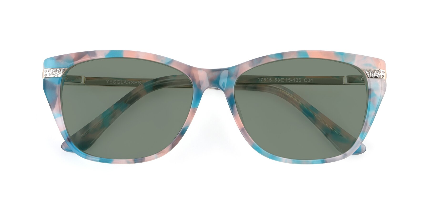 Folded Front of 17515 in Floral with Medium Green Tinted Lenses