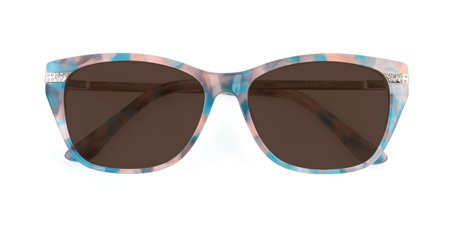 Folded Front of 17515 in Floral with Brown Tinted Lenses