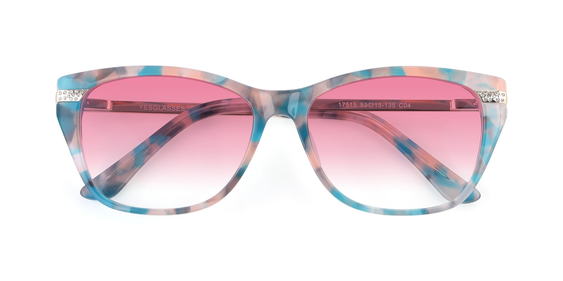 Folded Front of 17515 in Floral with Pink Gradient Lenses