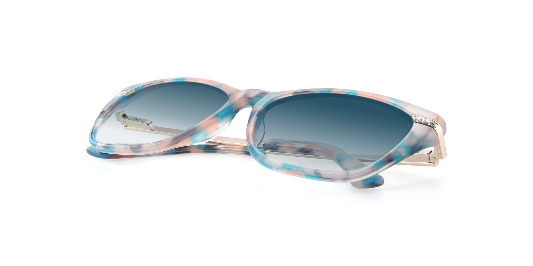 View of 17515 in Floral with Blue Gradient Lenses