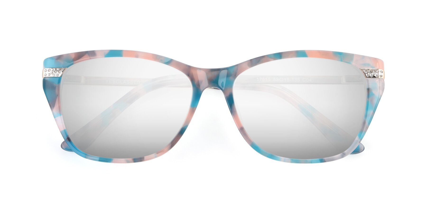 Folded Front of 17515 in Floral with Silver Mirrored Lenses