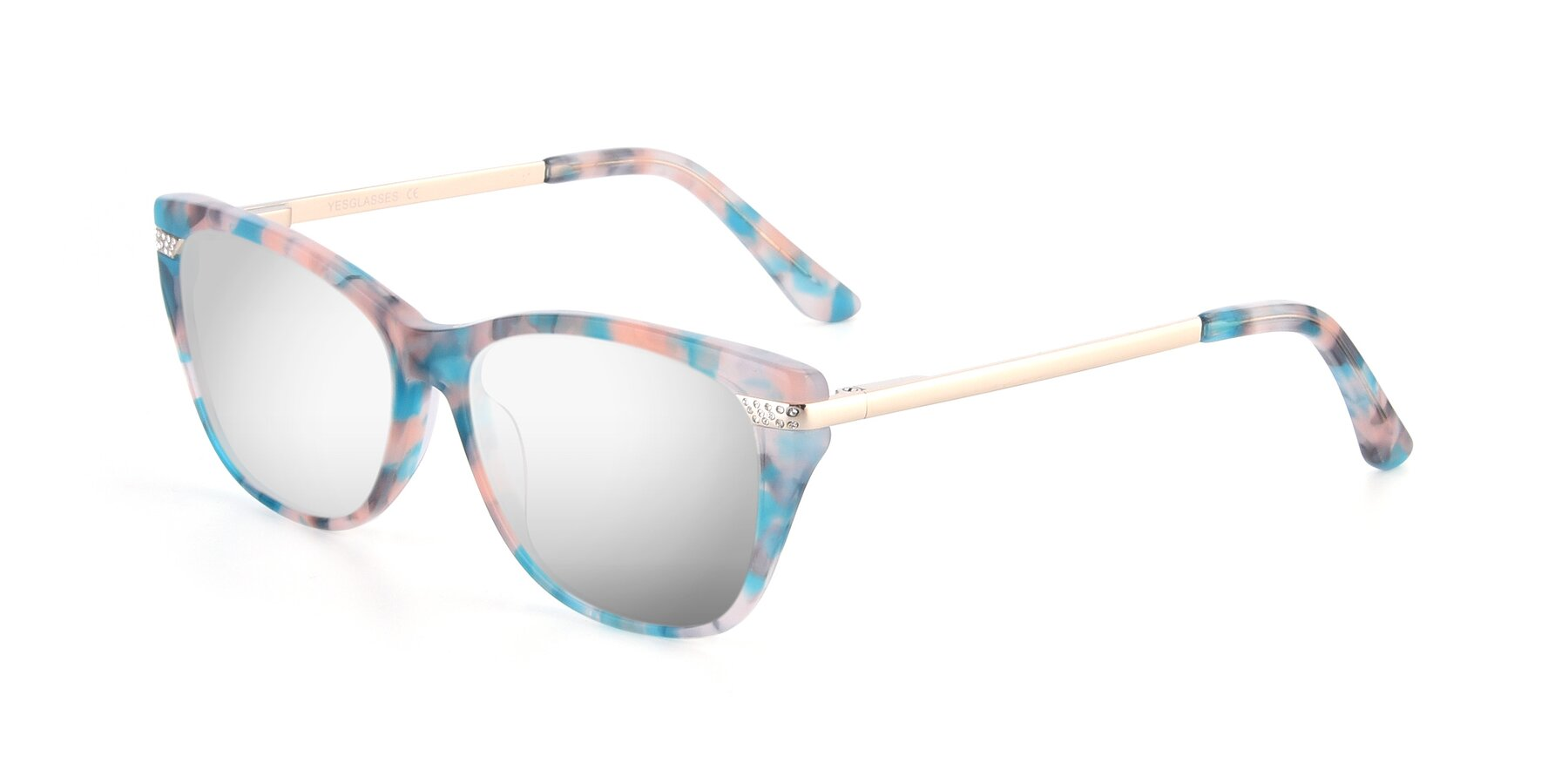 Angle of 17515 in Floral with Silver Mirrored Lenses