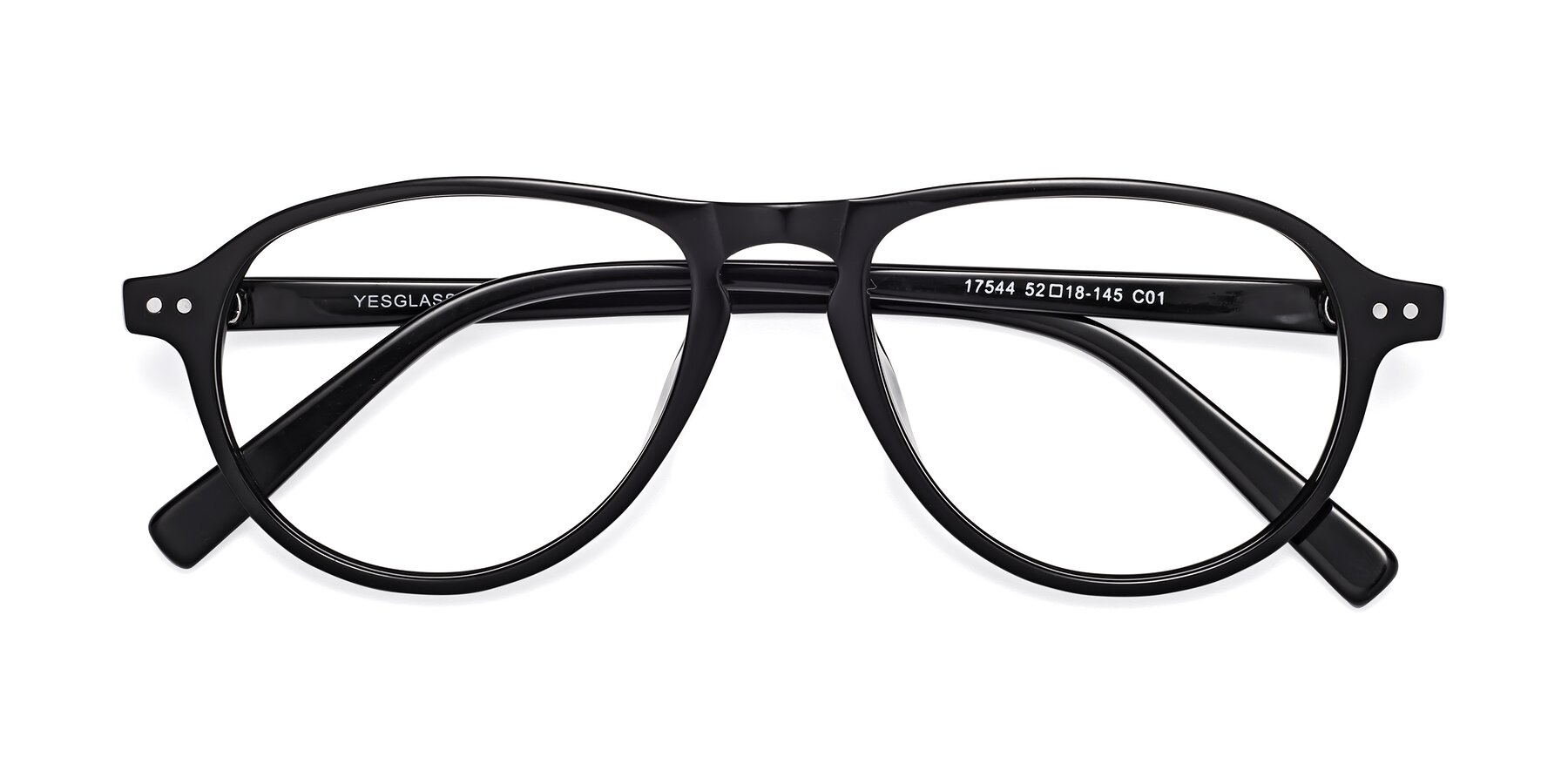 Folded Front of 17544 in Black with Clear Eyeglass Lenses