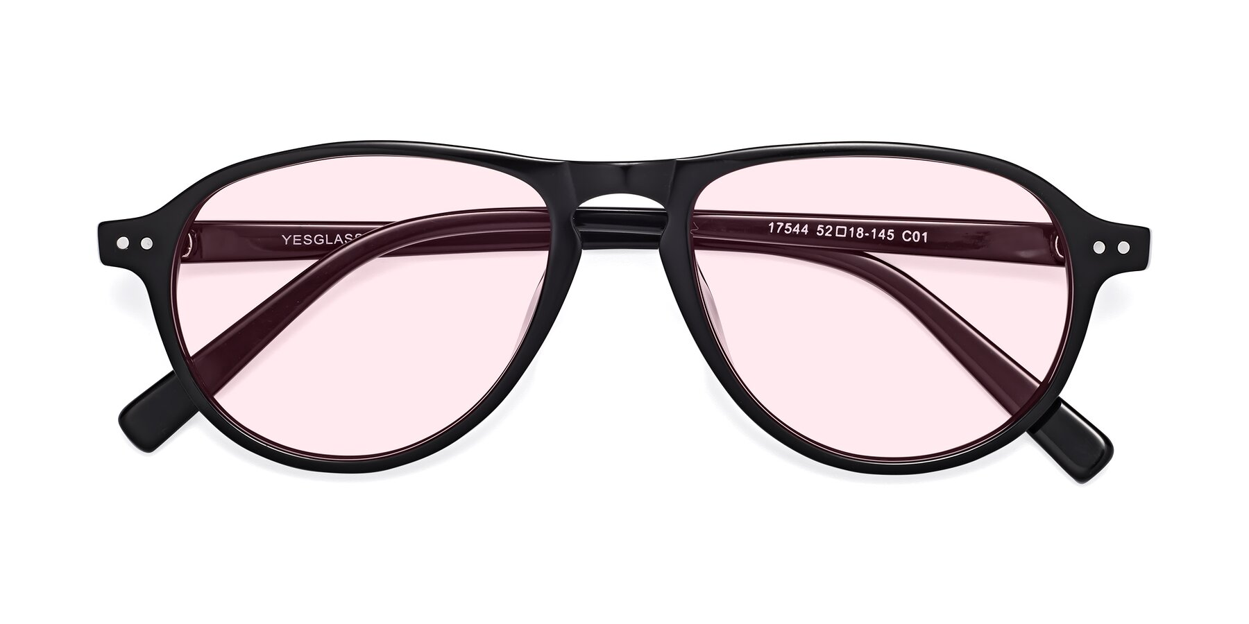 Folded Front of 17544 in Black with Light Pink Tinted Lenses