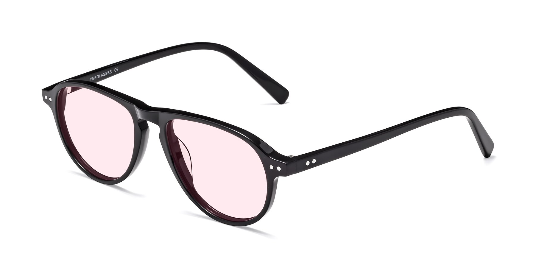 Angle of 17544 in Black with Light Pink Tinted Lenses