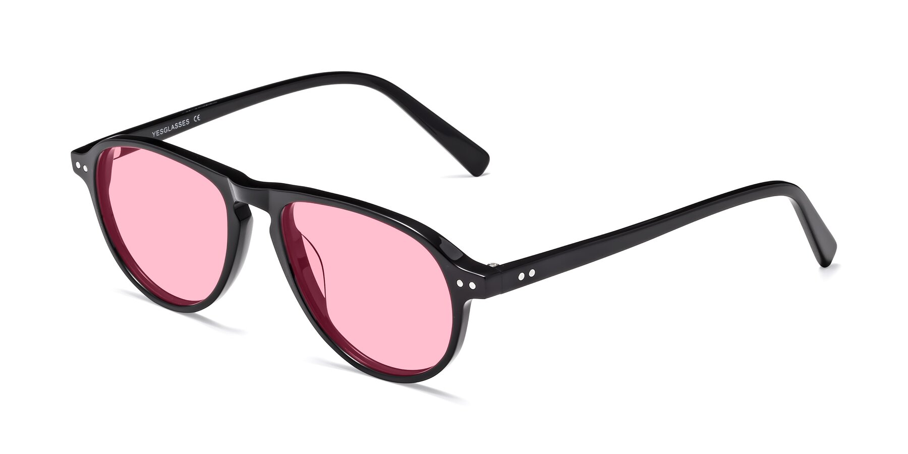 Angle of 17544 in Black with Medium Pink Tinted Lenses