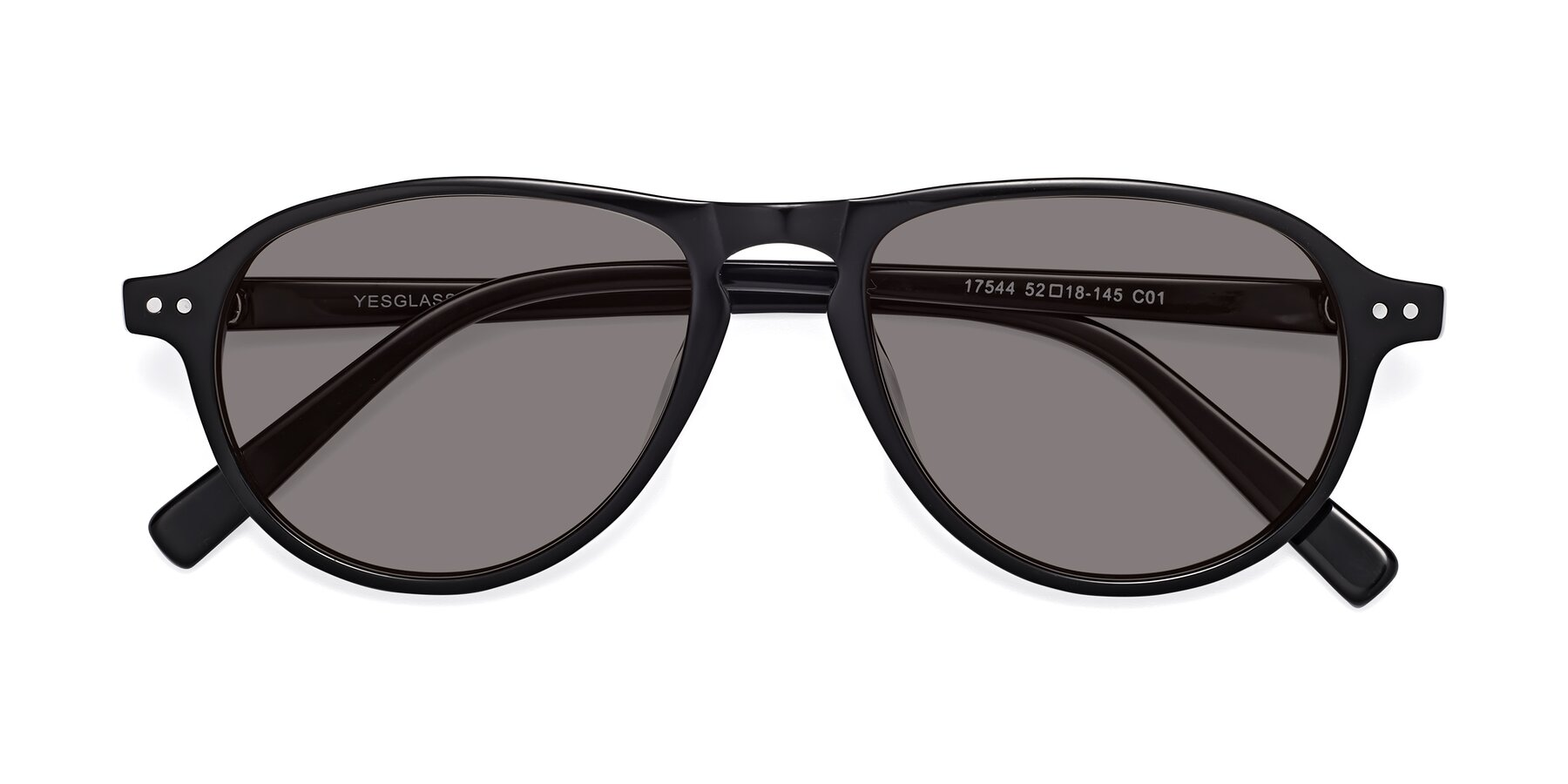 Folded Front of 17544 in Black with Medium Gray Tinted Lenses