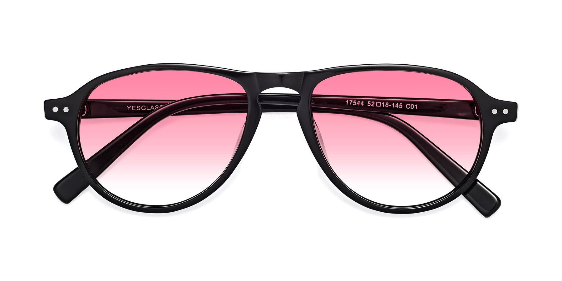 Folded Front of 17544 in Black with Pink Gradient Lenses