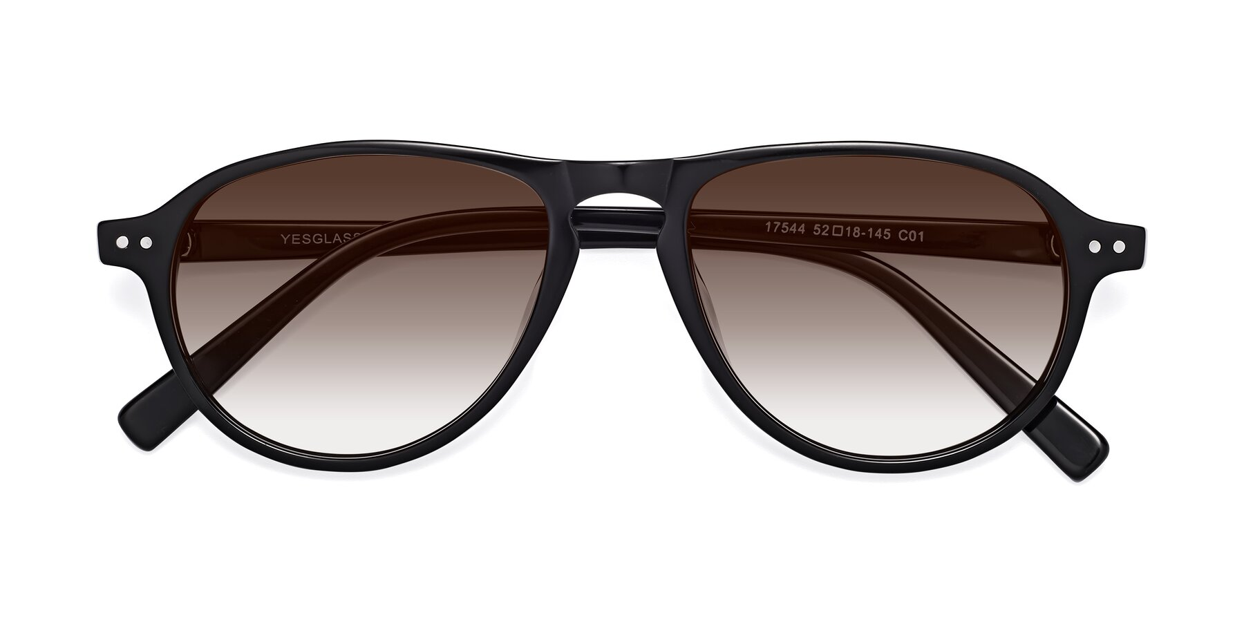 Folded Front of 17544 in Black with Brown Gradient Lenses