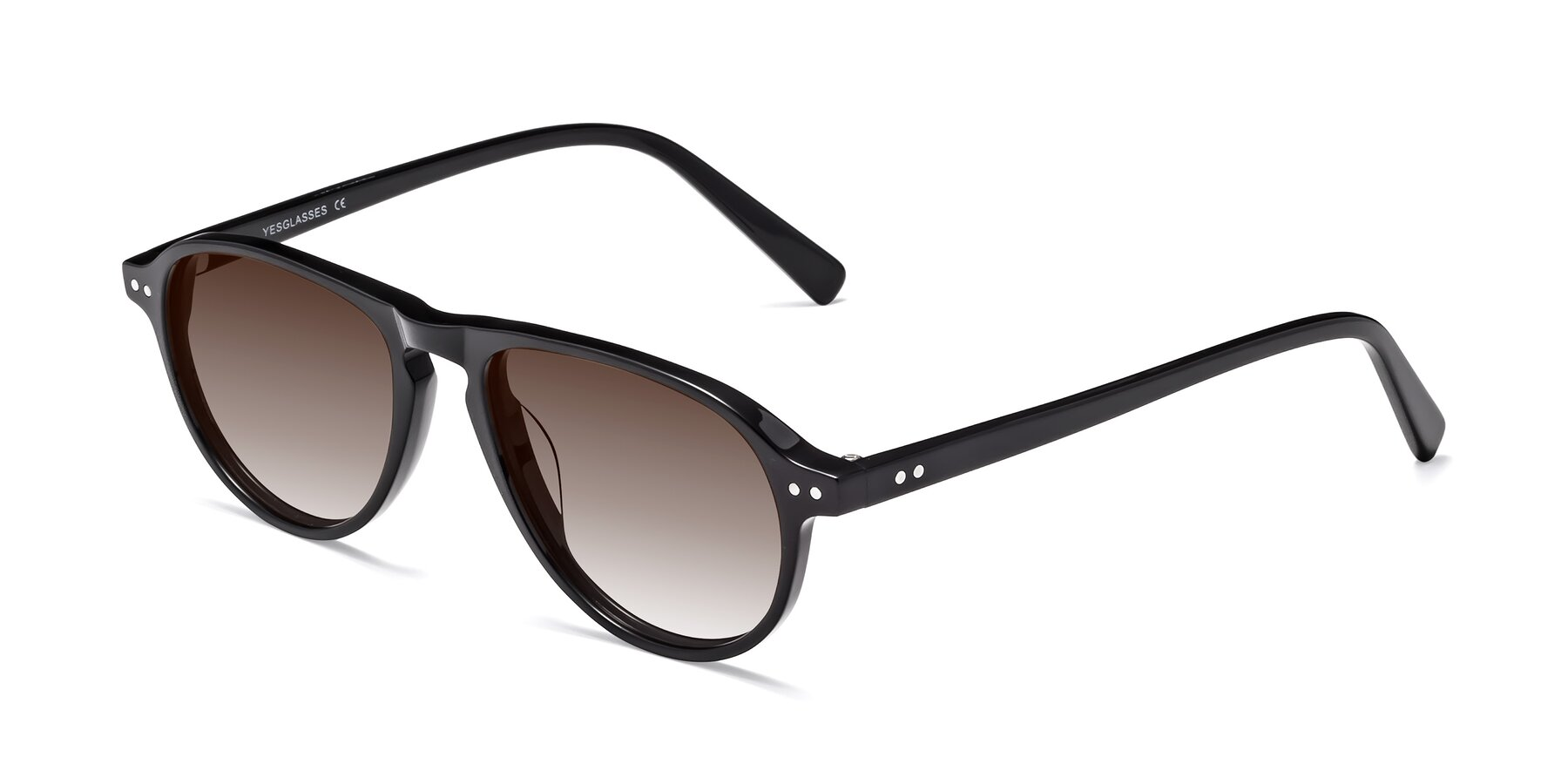 Angle of 17544 in Black with Brown Gradient Lenses