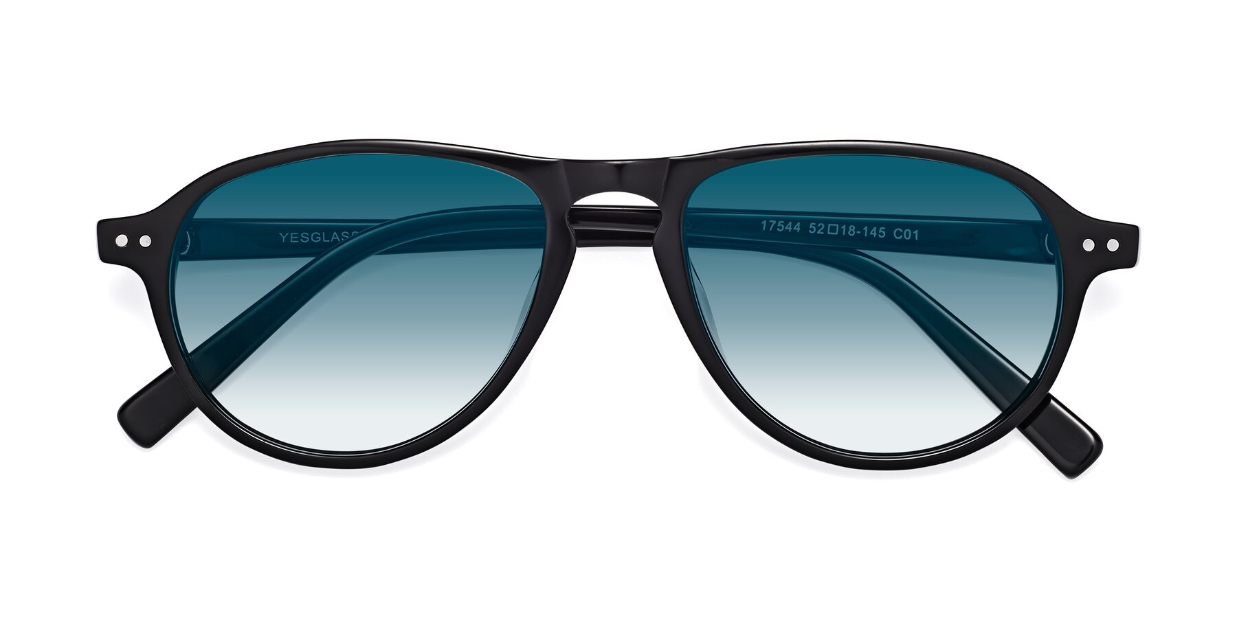 Folded Front of 17544 in Black with Blue Gradient Lenses
