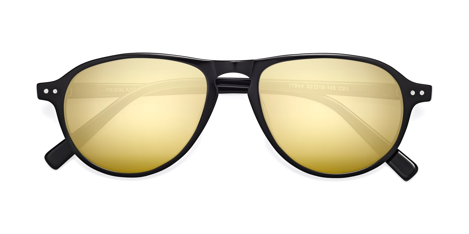 Folded Front of 17544 in Black with Gold Mirrored Lenses