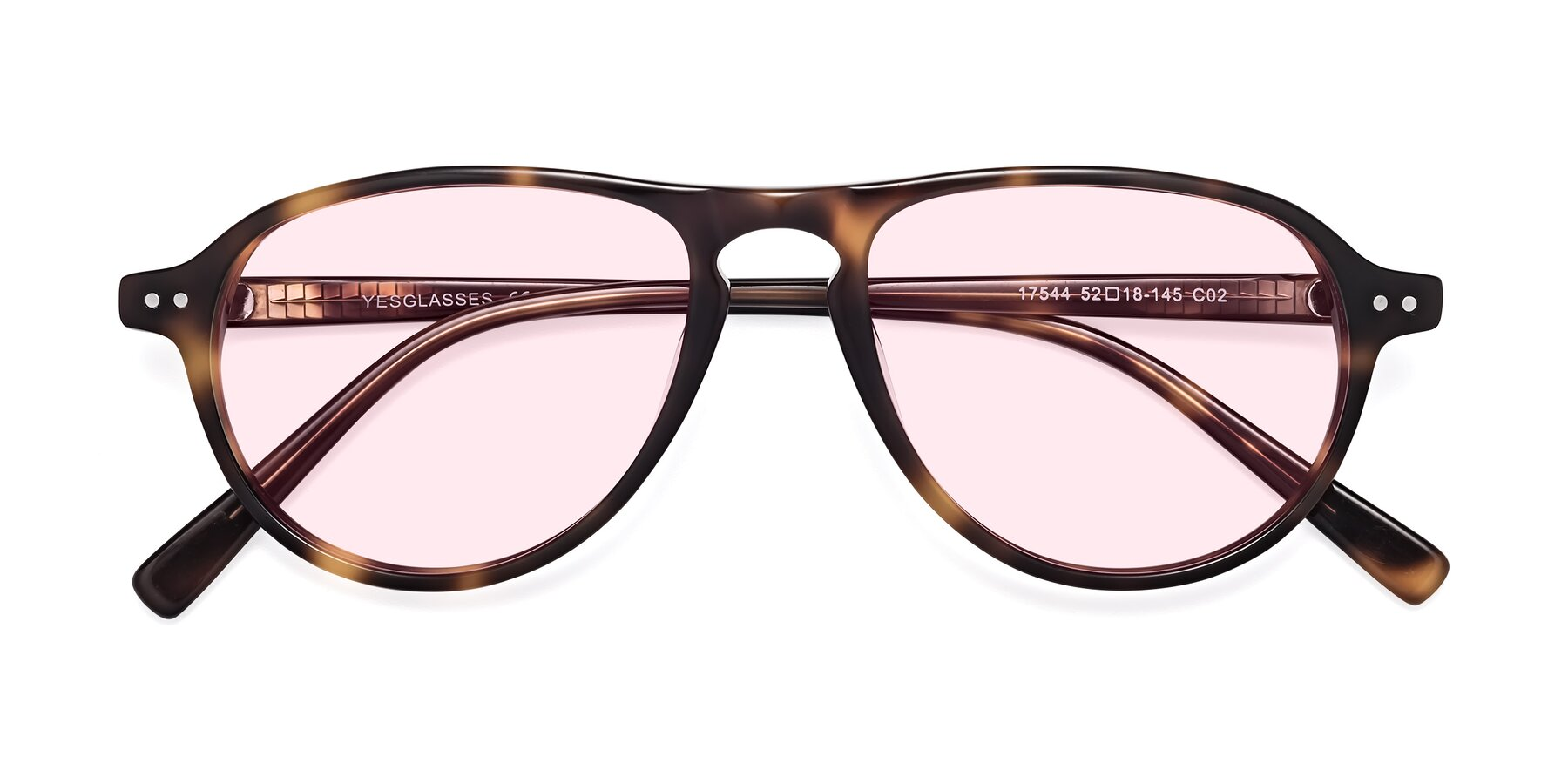 Folded Front of 17544 in Tortoise with Light Pink Tinted Lenses