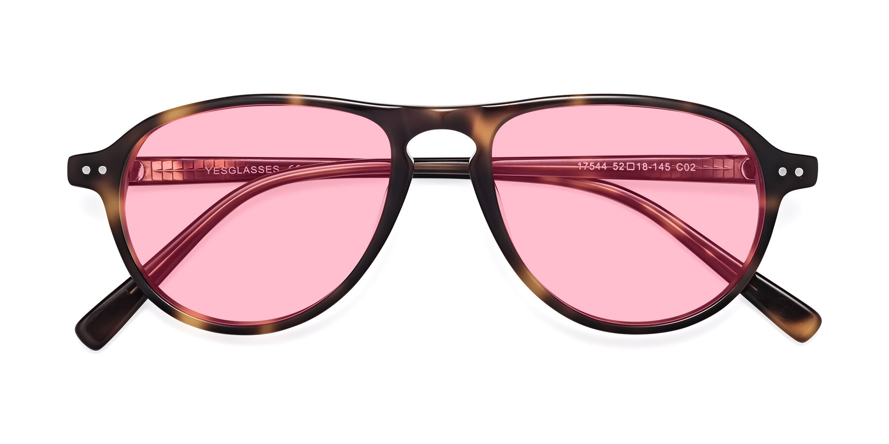 Folded Front of 17544 in Tortoise with Medium Pink Tinted Lenses
