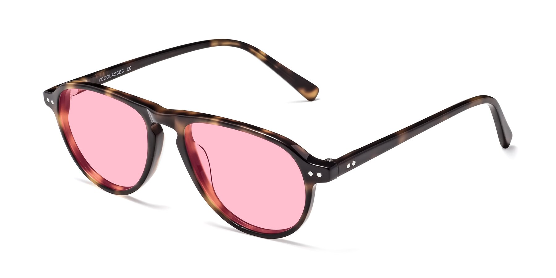 Angle of 17544 in Tortoise with Medium Pink Tinted Lenses