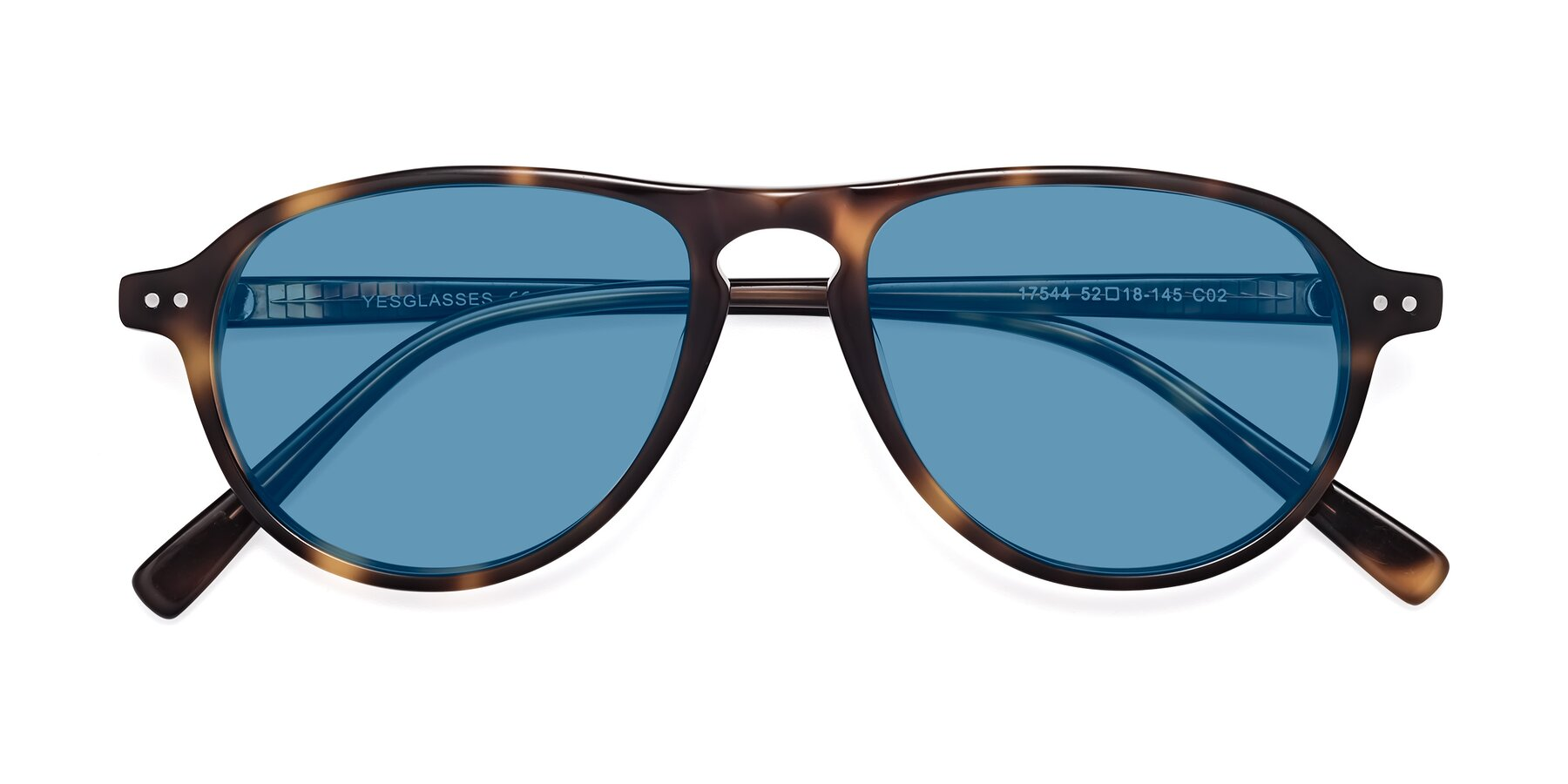 Folded Front of 17544 in Tortoise with Medium Blue Tinted Lenses