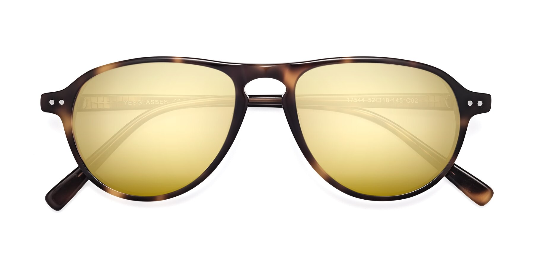 Folded Front of 17544 in Tortoise with Gold Mirrored Lenses