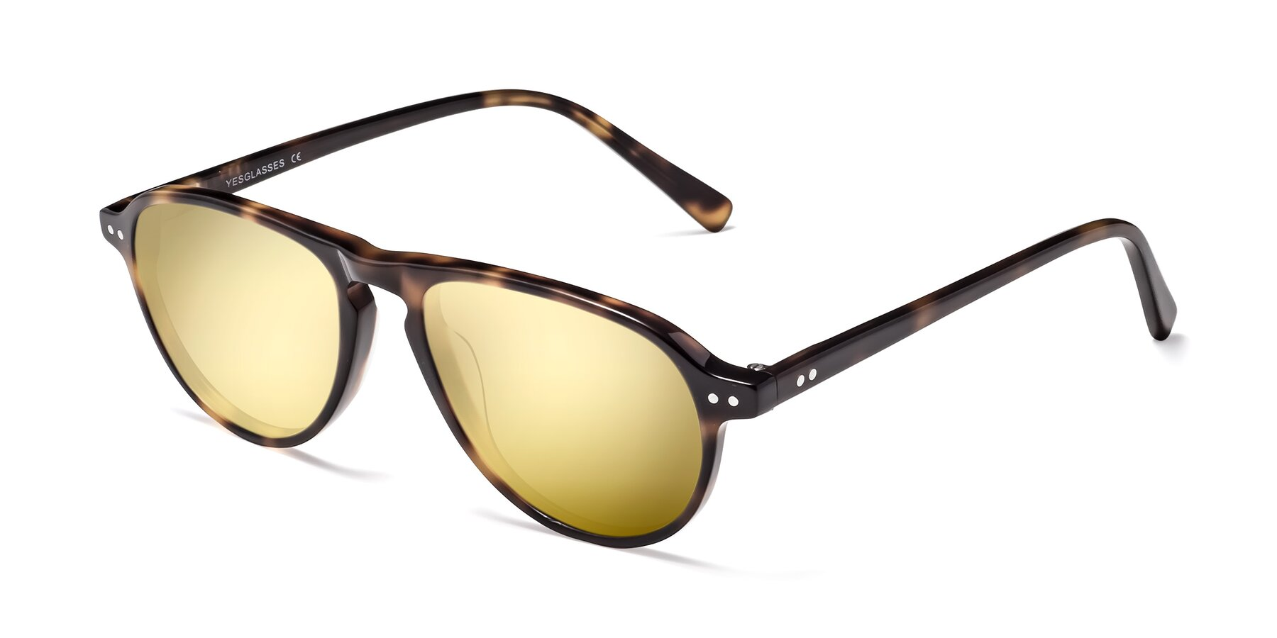 Angle of 17544 in Tortoise with Gold Mirrored Lenses
