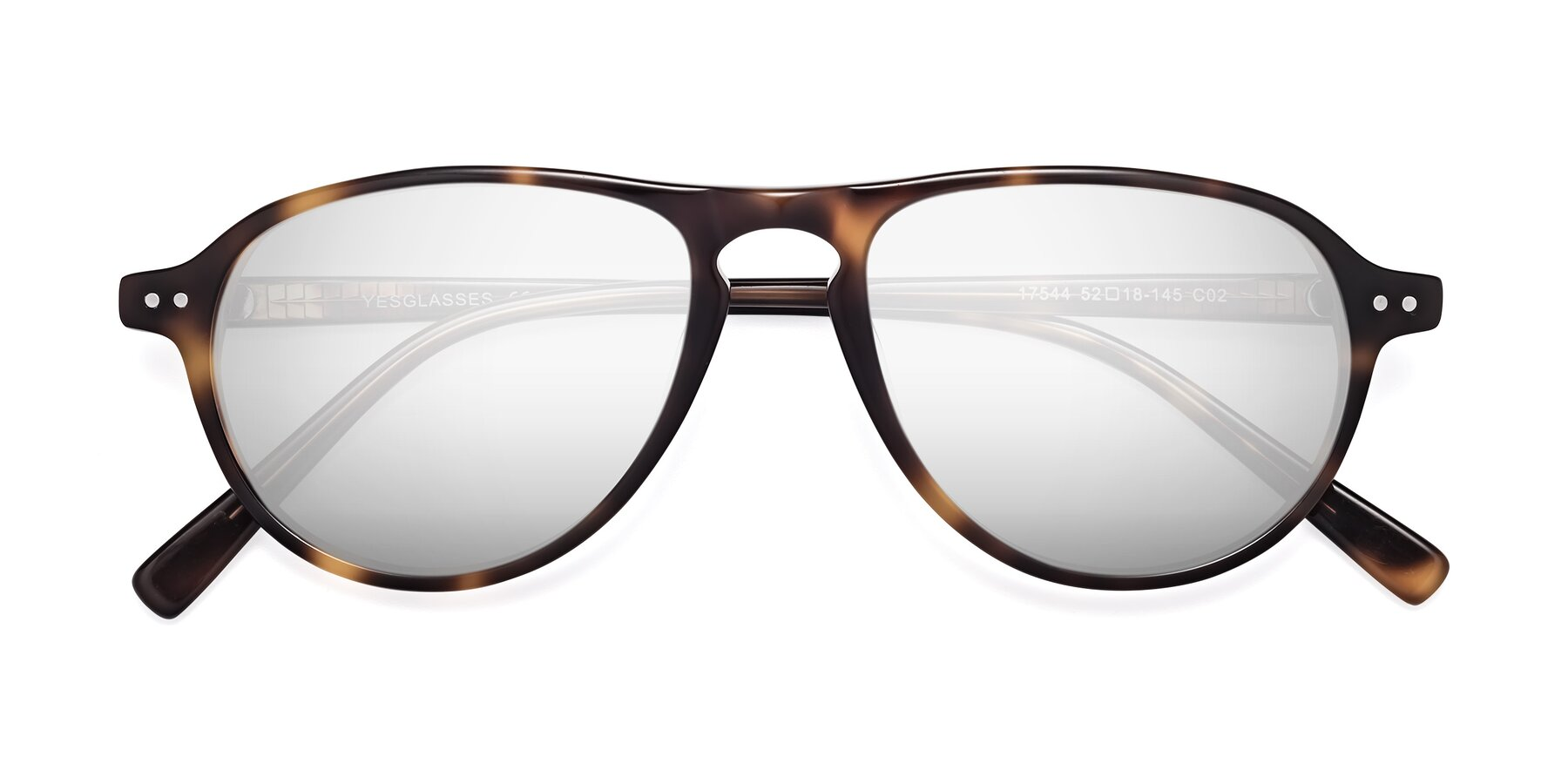 Folded Front of 17544 in Tortoise with Silver Mirrored Lenses