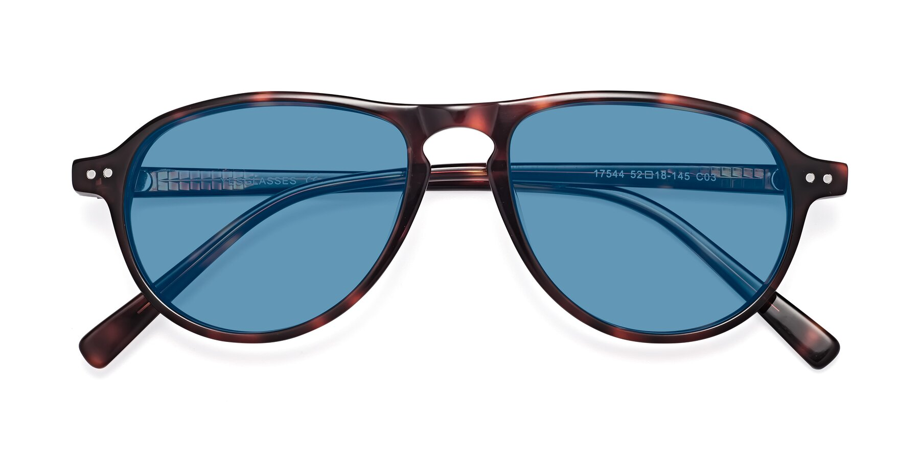 Folded Front of 17544 in Burgundy Tortoise with Medium Blue Tinted Lenses