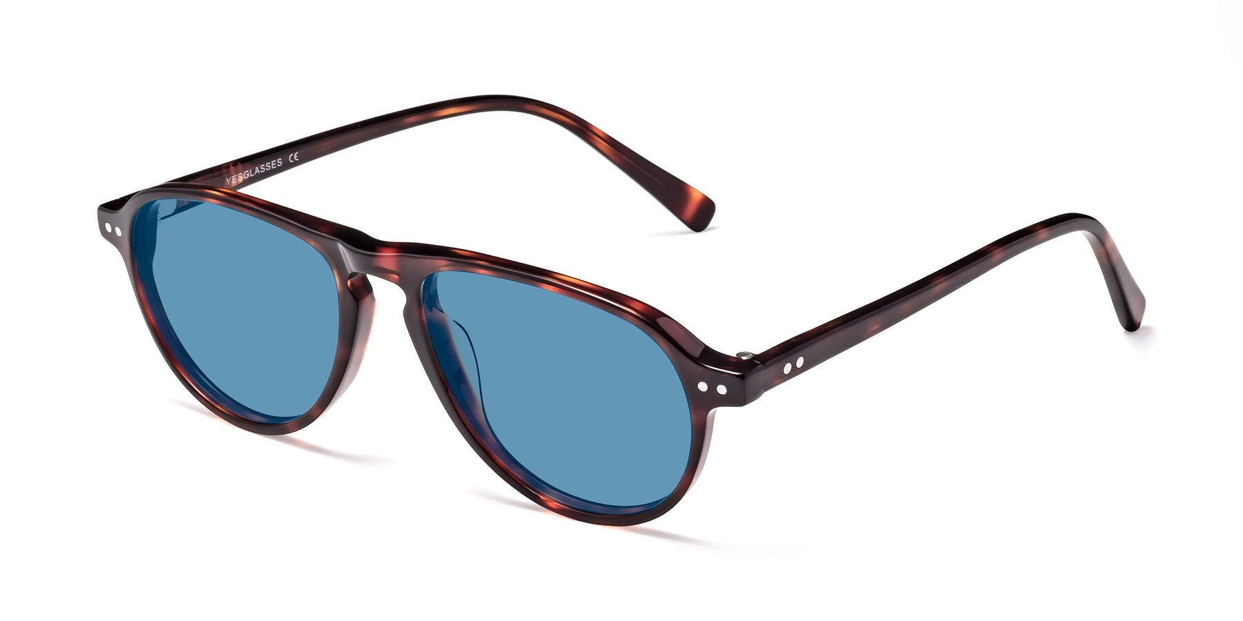 Angle of 17544 in Burgundy Tortoise with Medium Blue Tinted Lenses