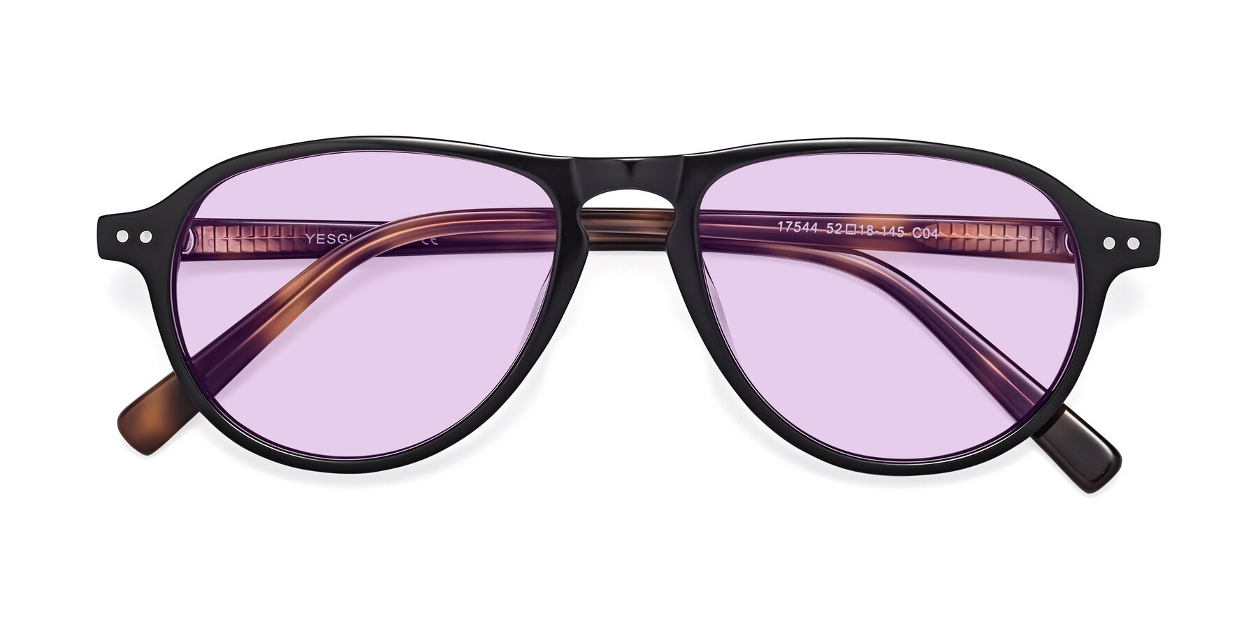 Folded Front of 17544 in Black-Tortoise with Light Purple Tinted Lenses