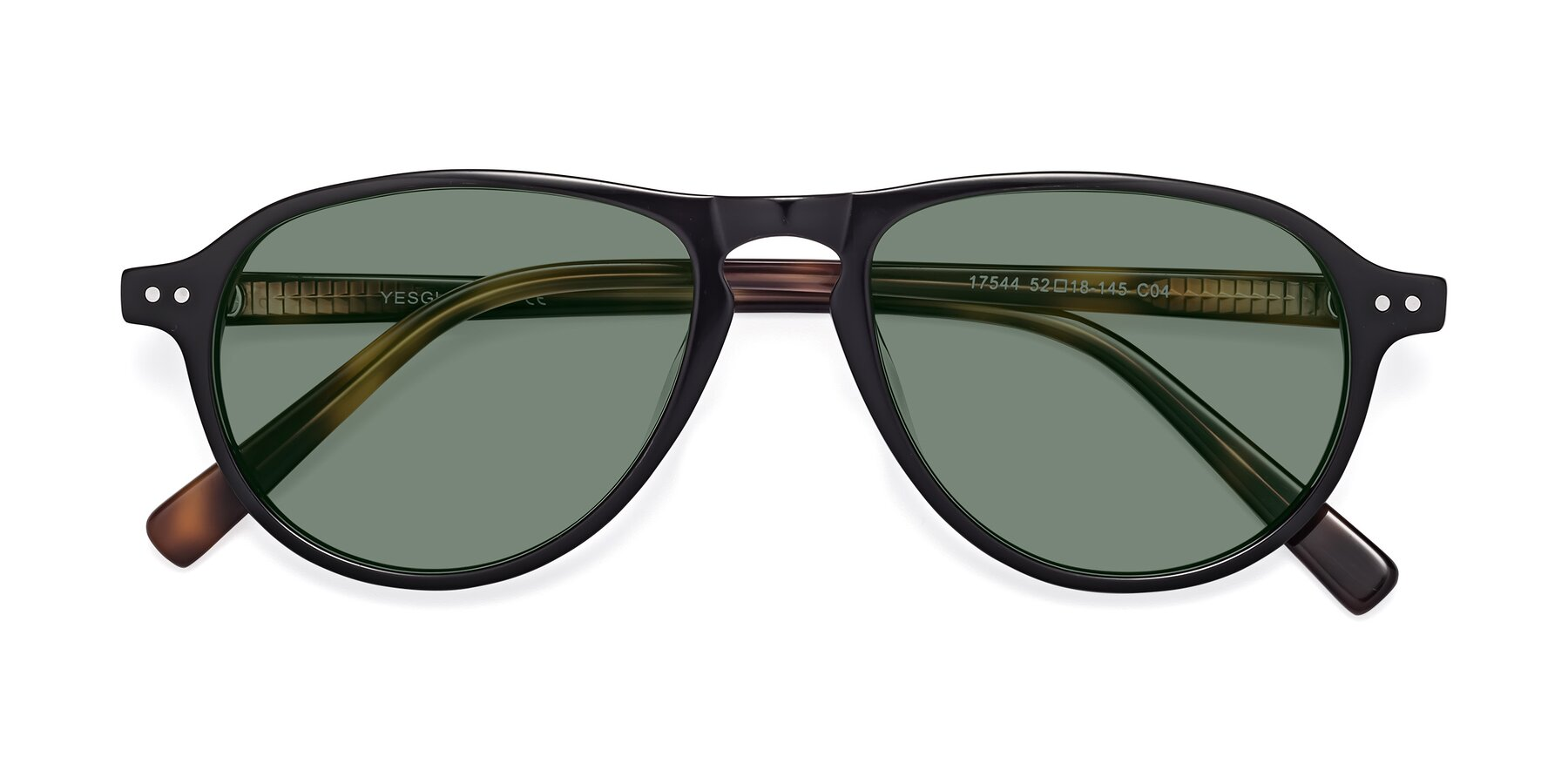 Folded Front of 17544 in Black-Tortoise with Medium Green Tinted Lenses