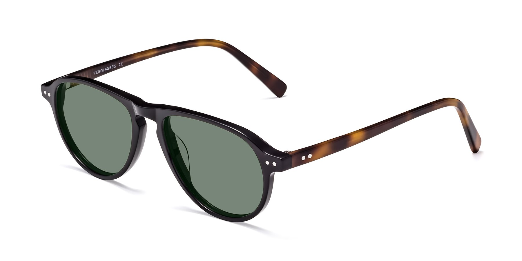 Angle of 17544 in Black-Tortoise with Medium Green Tinted Lenses