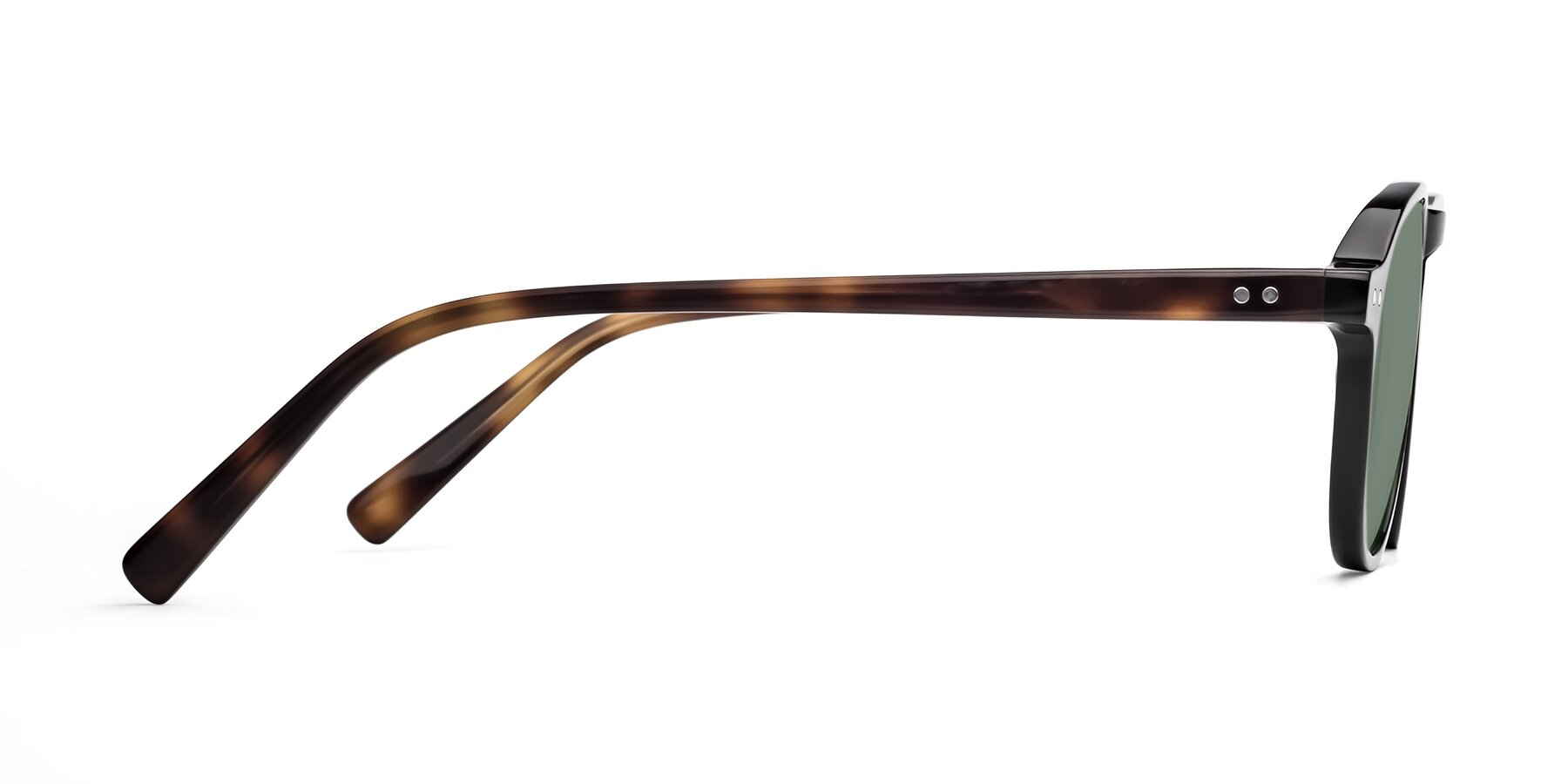 Side of 17544 in Black-Tortoise with Medium Green Tinted Lenses