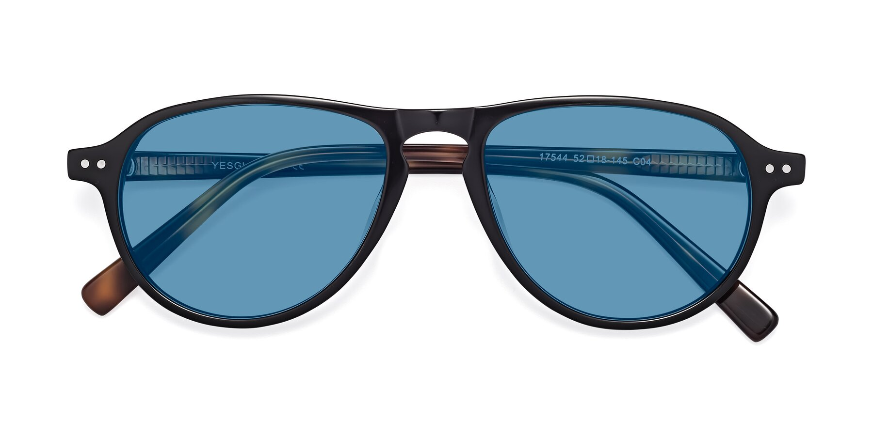 Folded Front of 17544 in Black-Tortoise with Medium Blue Tinted Lenses