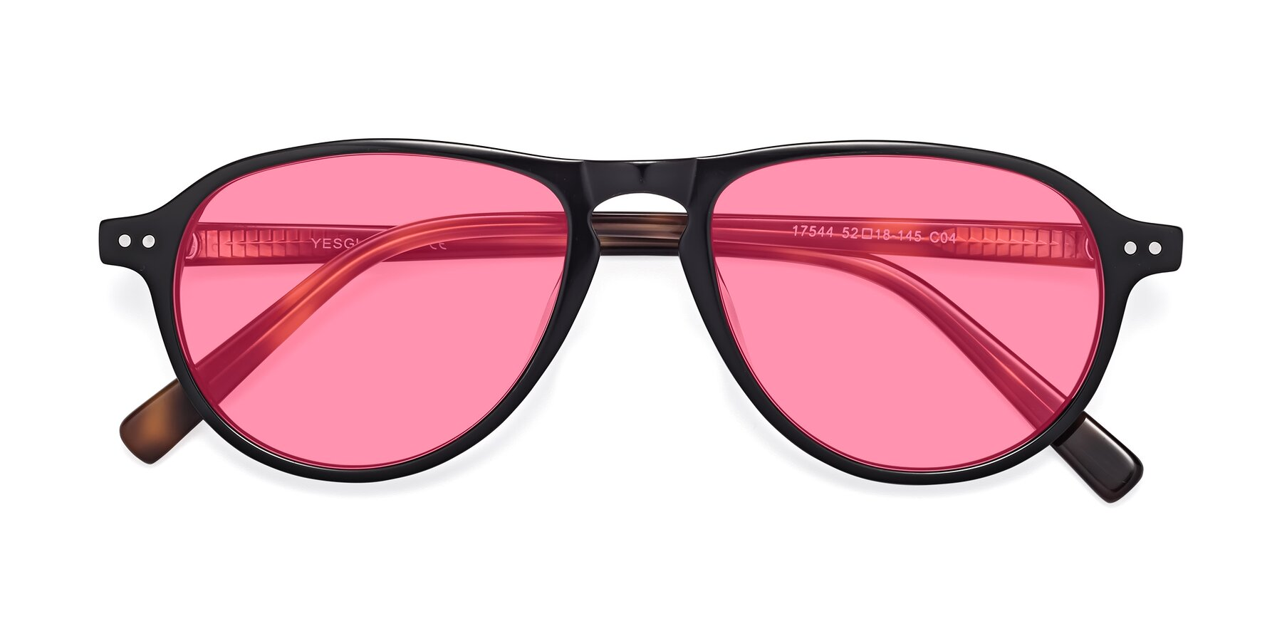 Folded Front of 17544 in Black-Tortoise with Pink Tinted Lenses