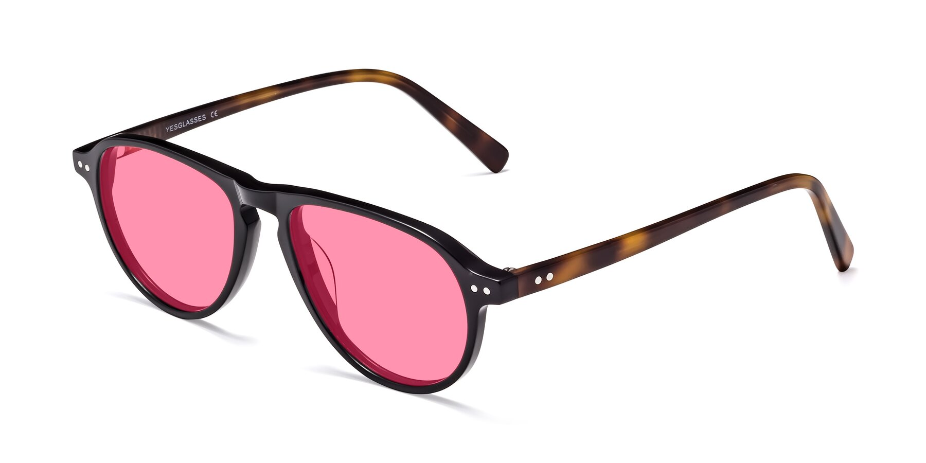 Angle of 17544 in Black-Tortoise with Pink Tinted Lenses